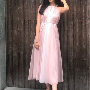 Elegant Pink Lace Tie Neck Double Layer Maxi Dress